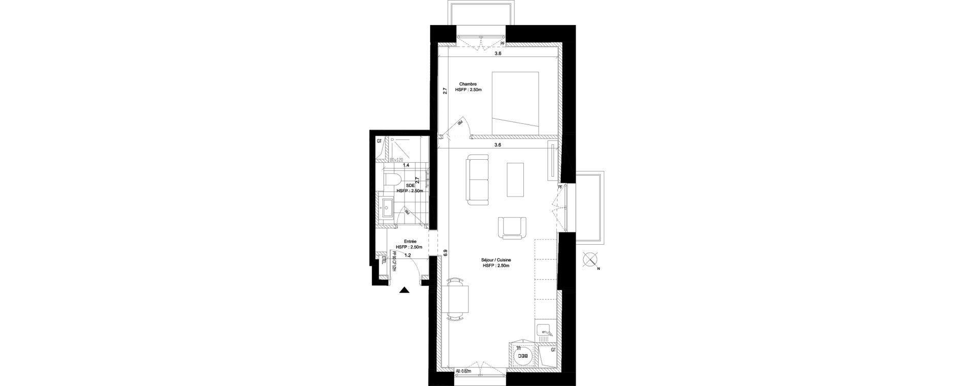 Appartement T2 de 38,90 m2 au Pecq Centre
