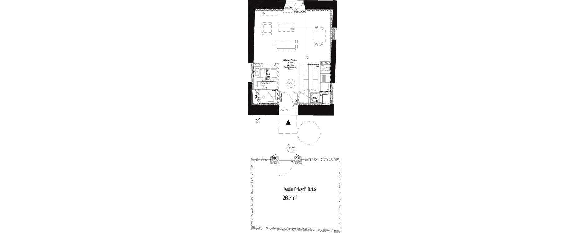 Appartement T1 de 29,10 m2 au Pecq Centre