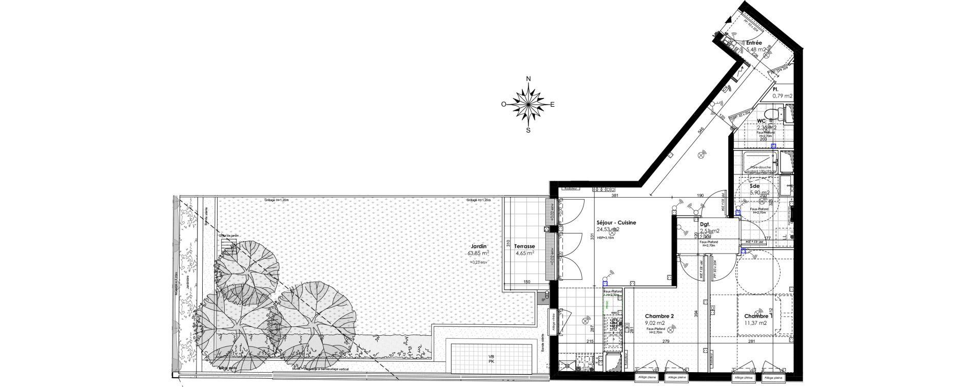 Appartement T3 de 61,95 m2 au Port-Marly Centre