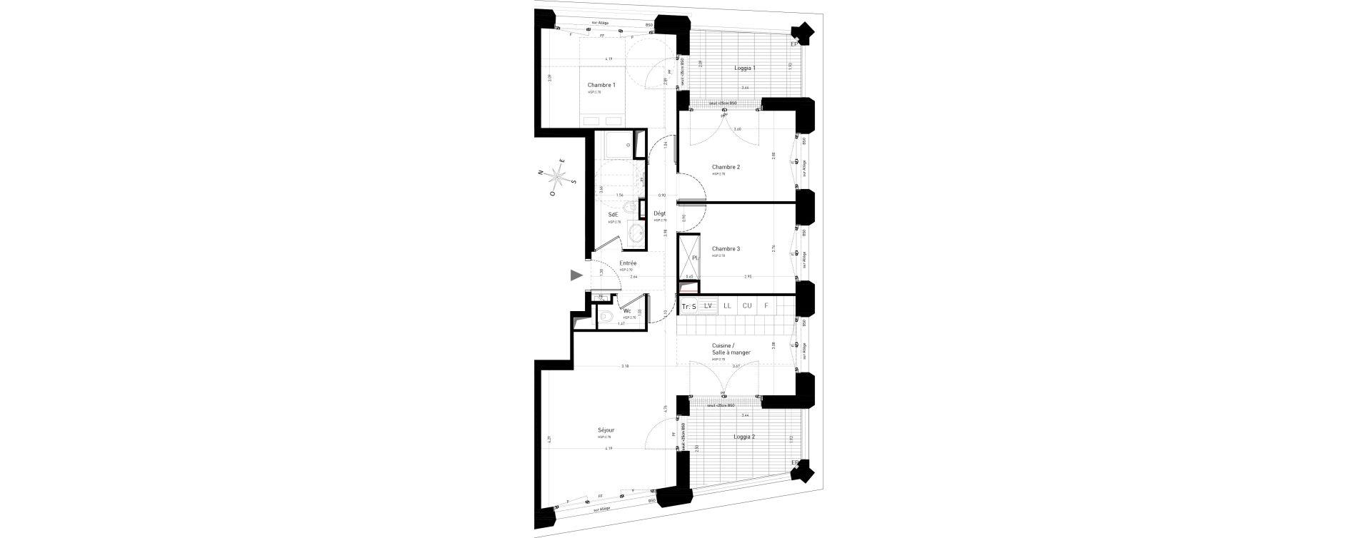 Appartement T4 de 78,09 m2 au Vésinet Centre