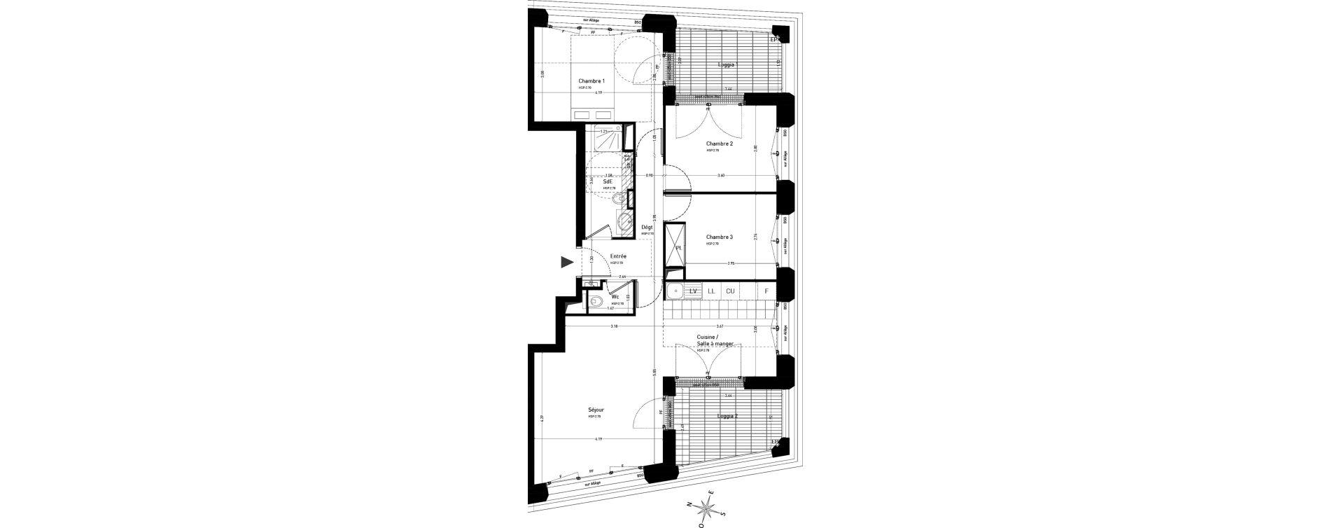 Appartement T4 de 78,17 m2 au Vésinet Centre