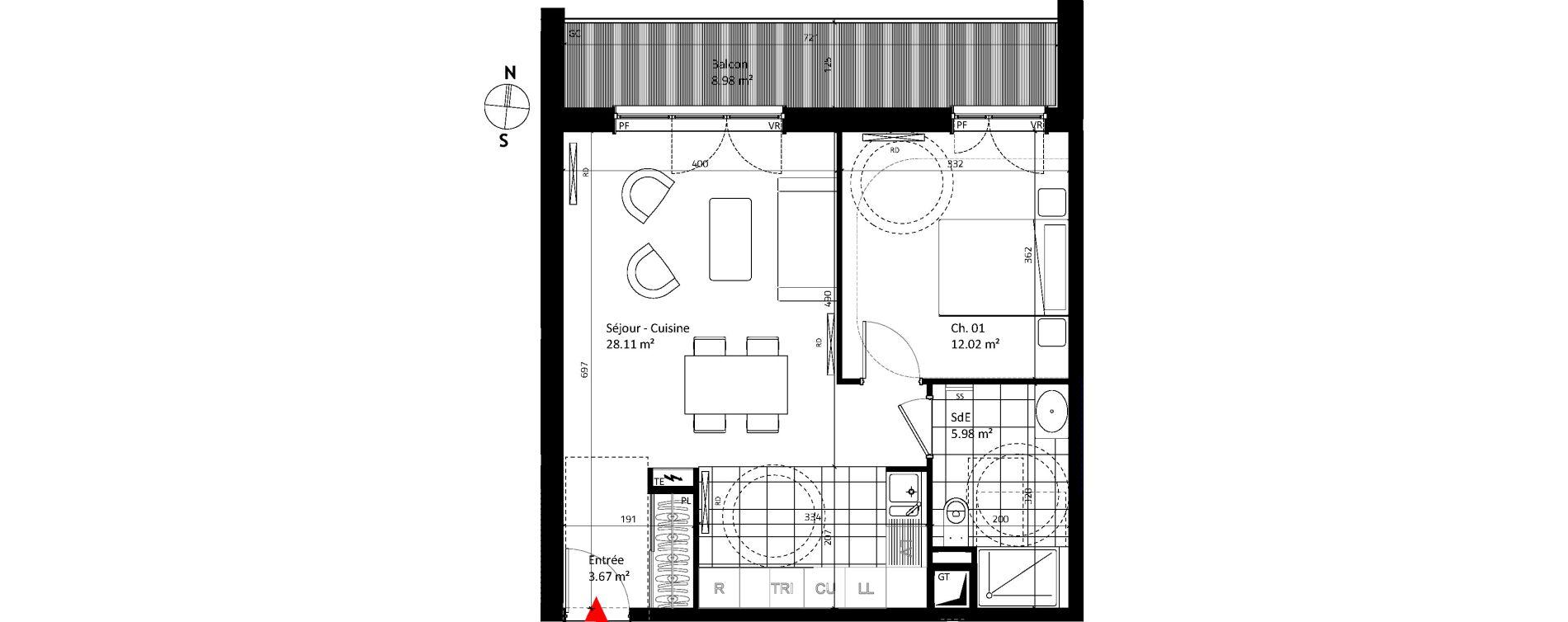 Appartement T2 de 49,77 m2 au Vésinet Parc princesse