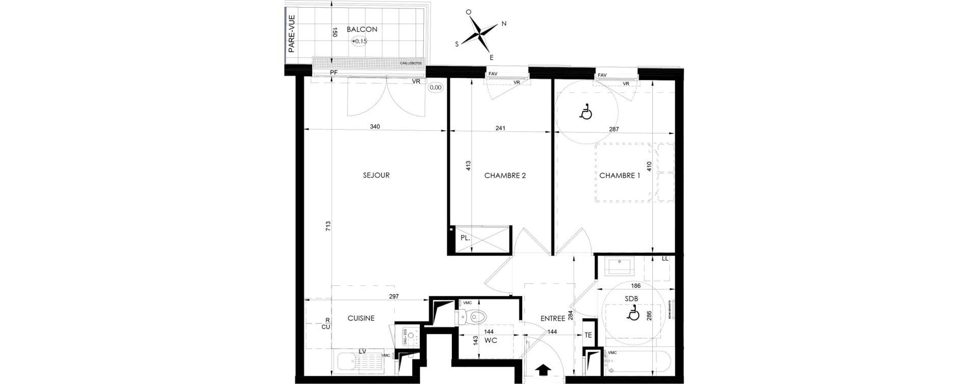 Appartement T3 de 57,70 m2 aux Clayes-Sous-Bois Centre
