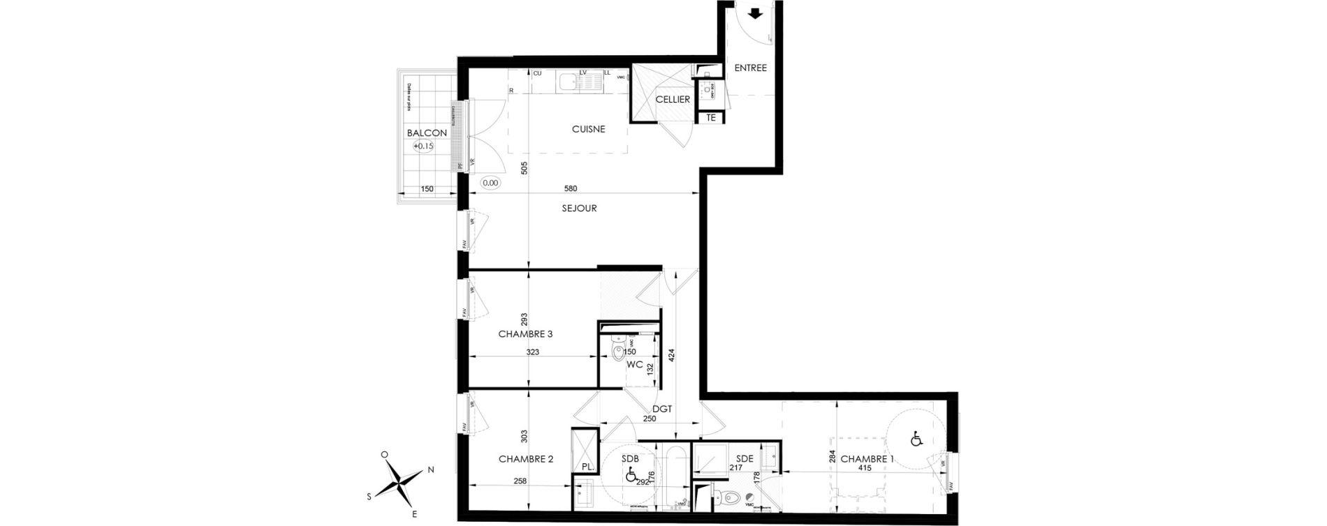 Appartement T4 de 85,35 m2 aux Clayes-Sous-Bois Centre