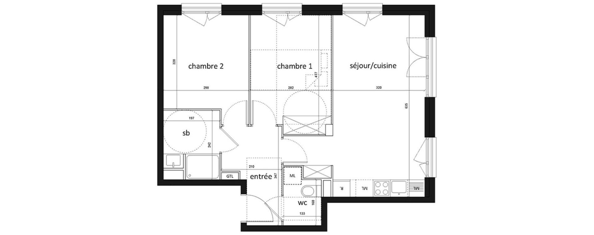 Appartement T3 De 56 50m2 1er étage Se Grand Air Les Mureaux