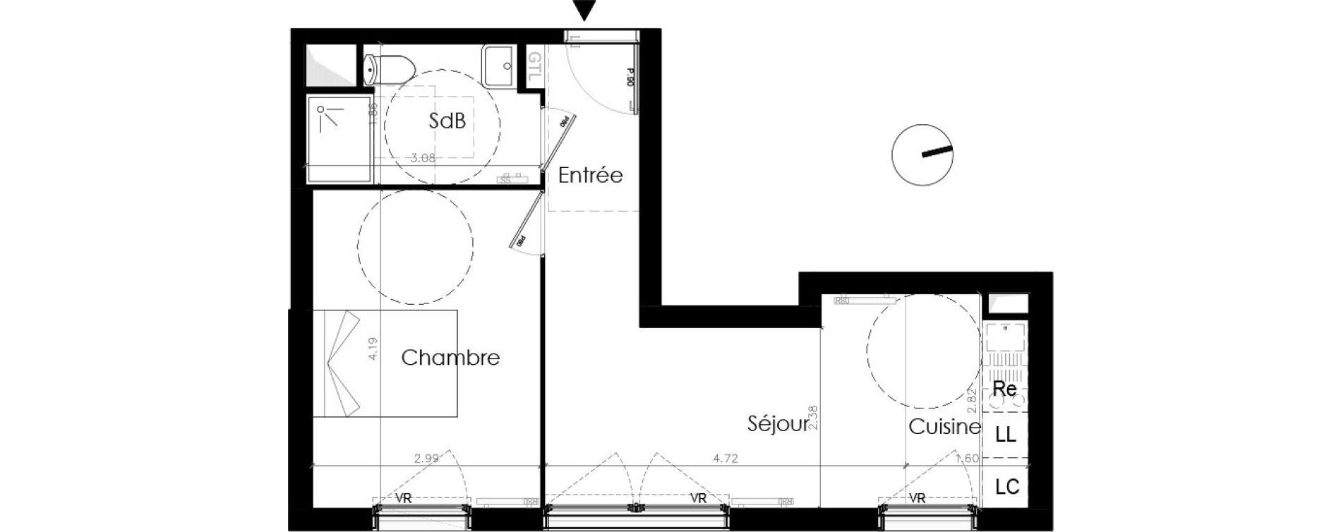 Appartement T2 de 38,20 m2 aux Mureaux Les mureaux centre ville