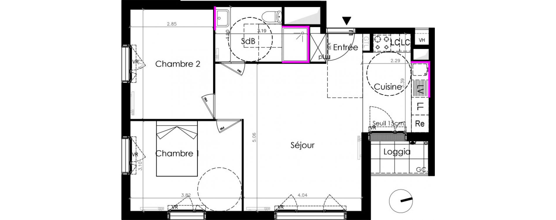 Appartement T3 de 59,10 m2 aux Mureaux Les mureaux centre ville