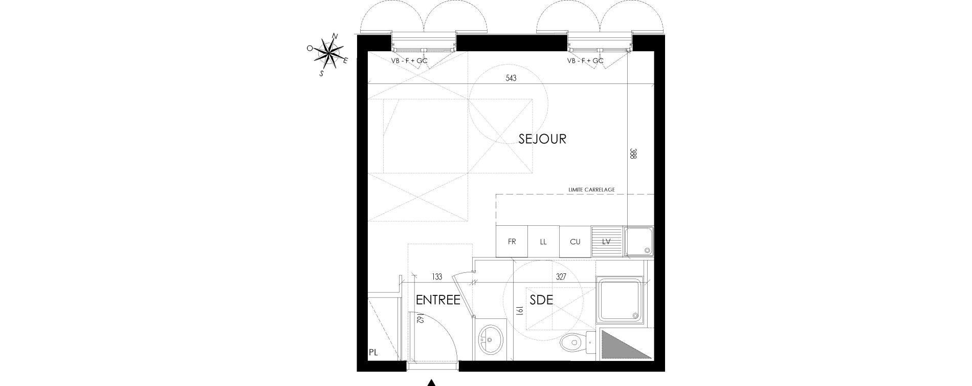 Appartement T1 de 30,28 m2 à Maisons-Laffitte Centre
