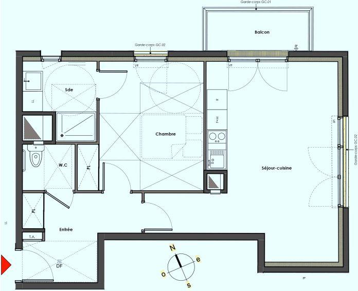 Plan T2 neuf à Mantes-la-Jolie de