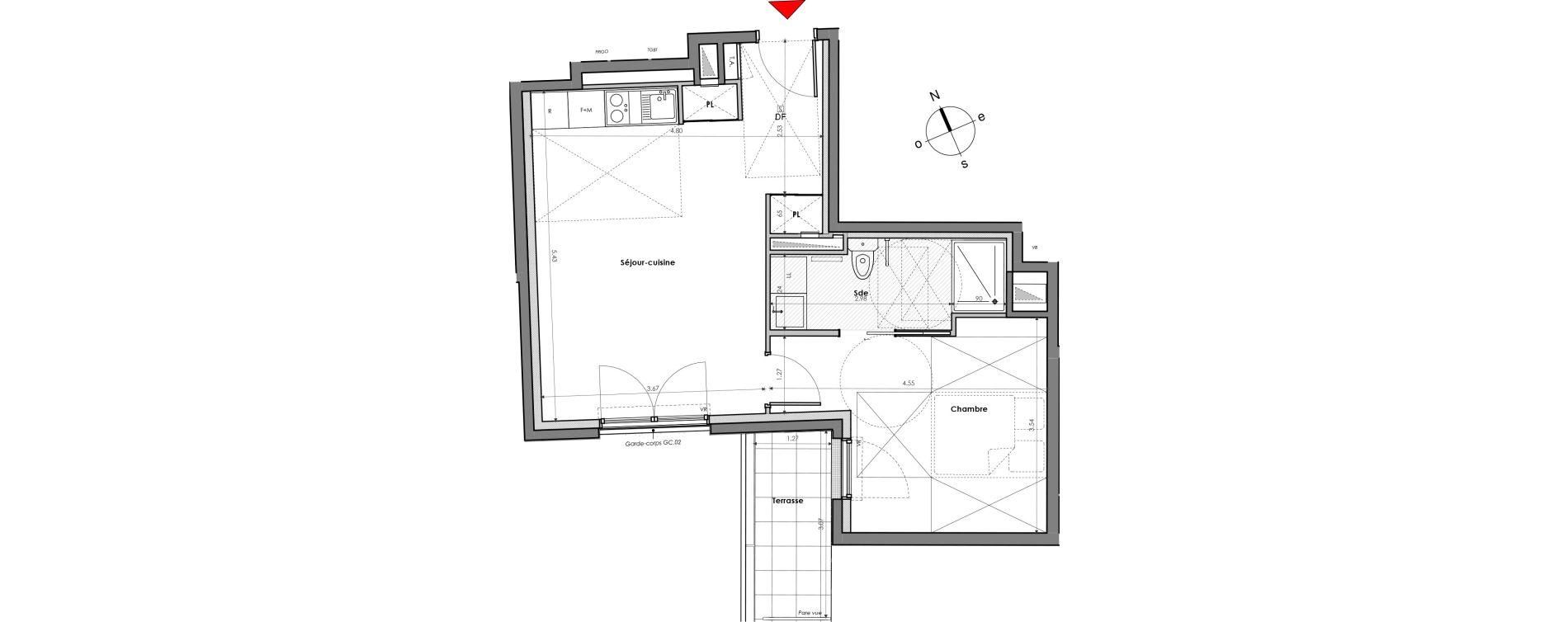 Appartement T2 de 41,37 m2 à Mantes-La-Jolie Gassicourt