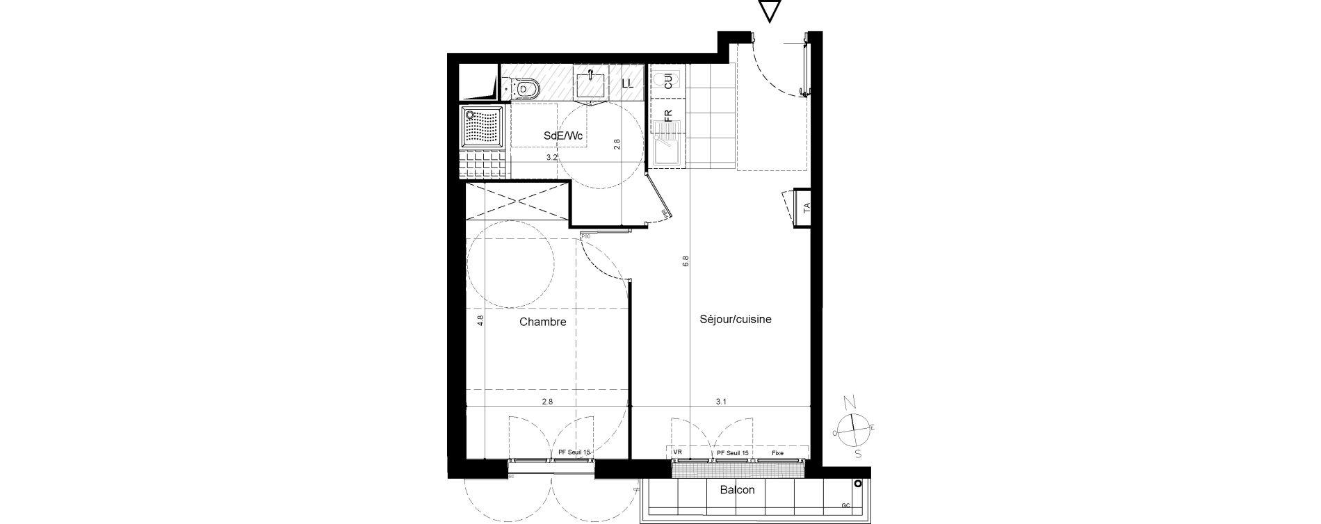 Appartement T2 de 39,98 m2 à Plaisir Centre