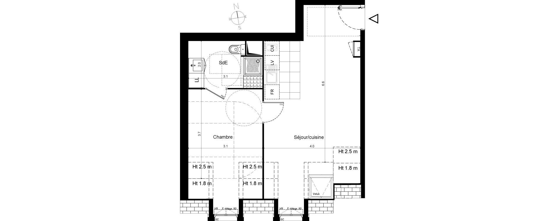 Appartement T2 de 45,78 m2 à Plaisir Centre