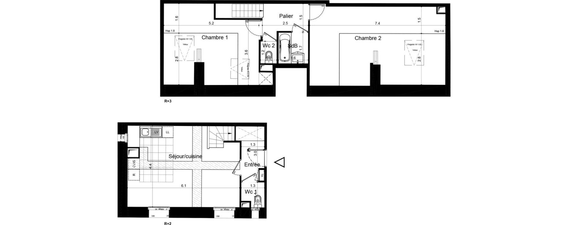 Duplex T3 de 69,09 m2 à Plaisir Centre