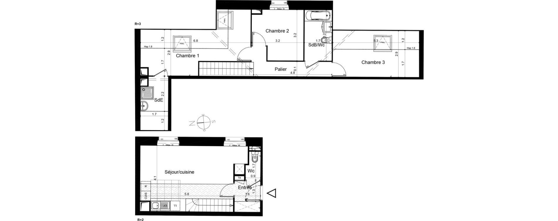 Duplex T4 de 70,49 m2 à Plaisir Centre