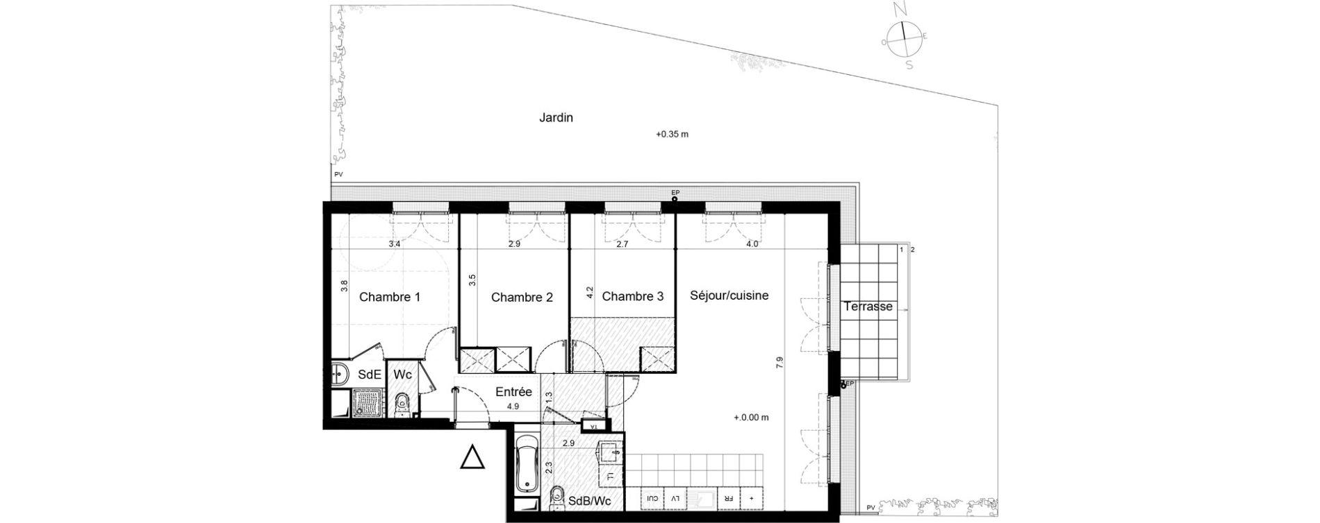 Appartement T4 de 89,17 m2 à Plaisir Centre
