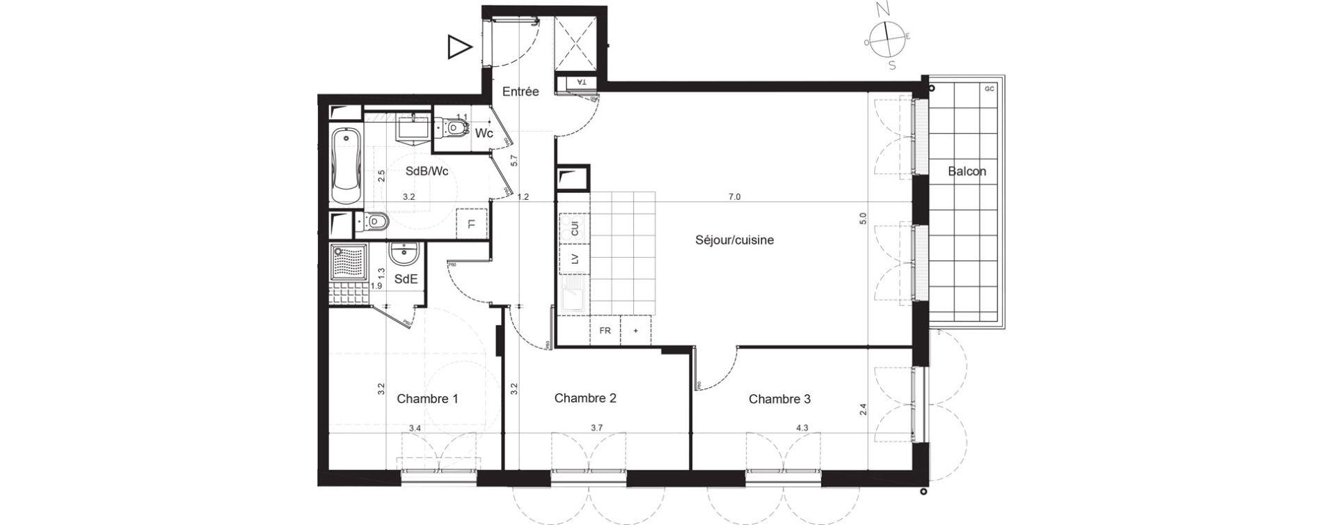 Appartement T4 de 84,92 m2 à Plaisir Centre