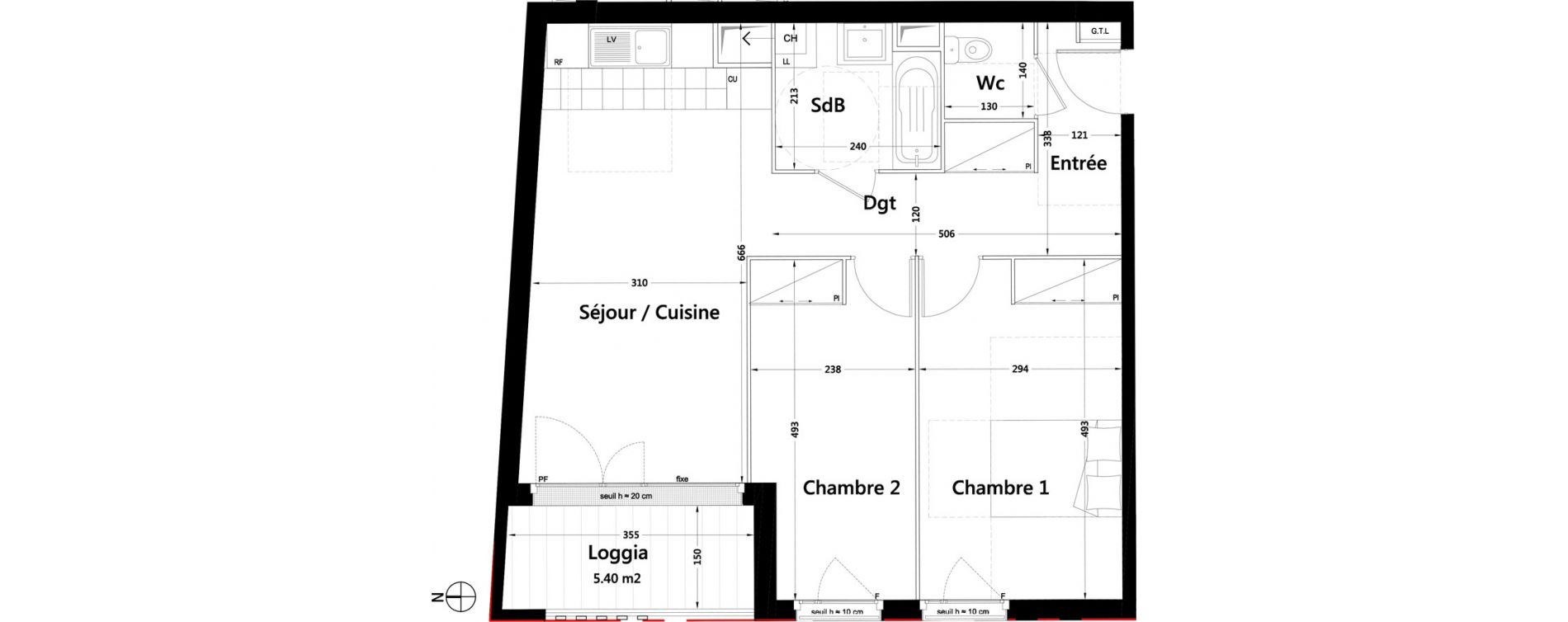 Appartement T3 de 63,56 m2 à Rambouillet Centre