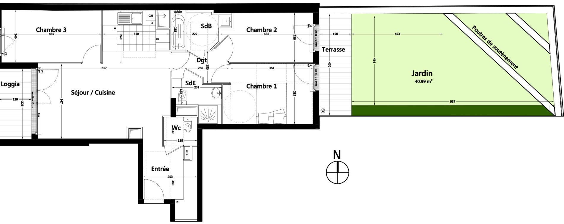 Appartement T4 de 79,84 m2 à Rambouillet Centre