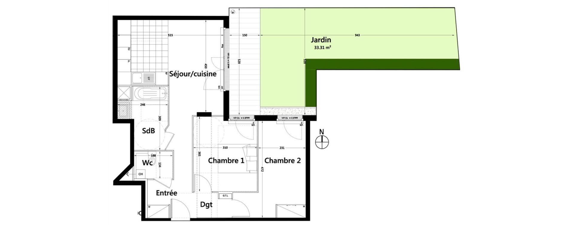 Appartement T3 de 61,49 m2 à Rambouillet Centre