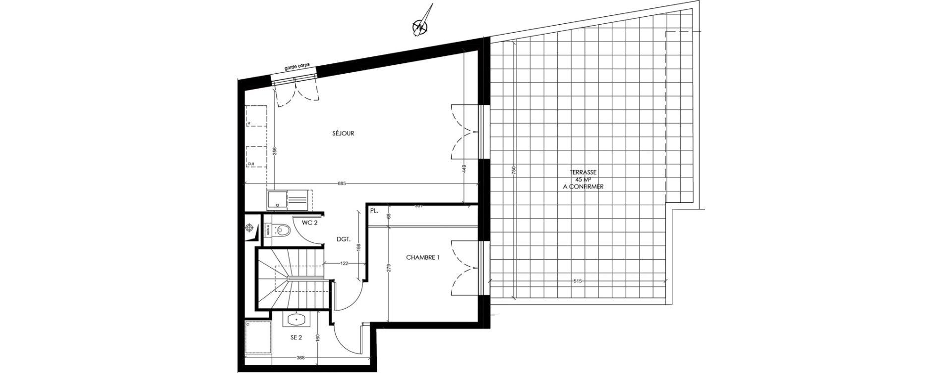 Duplex T4 de 85,90 m2 à Rambouillet Centre