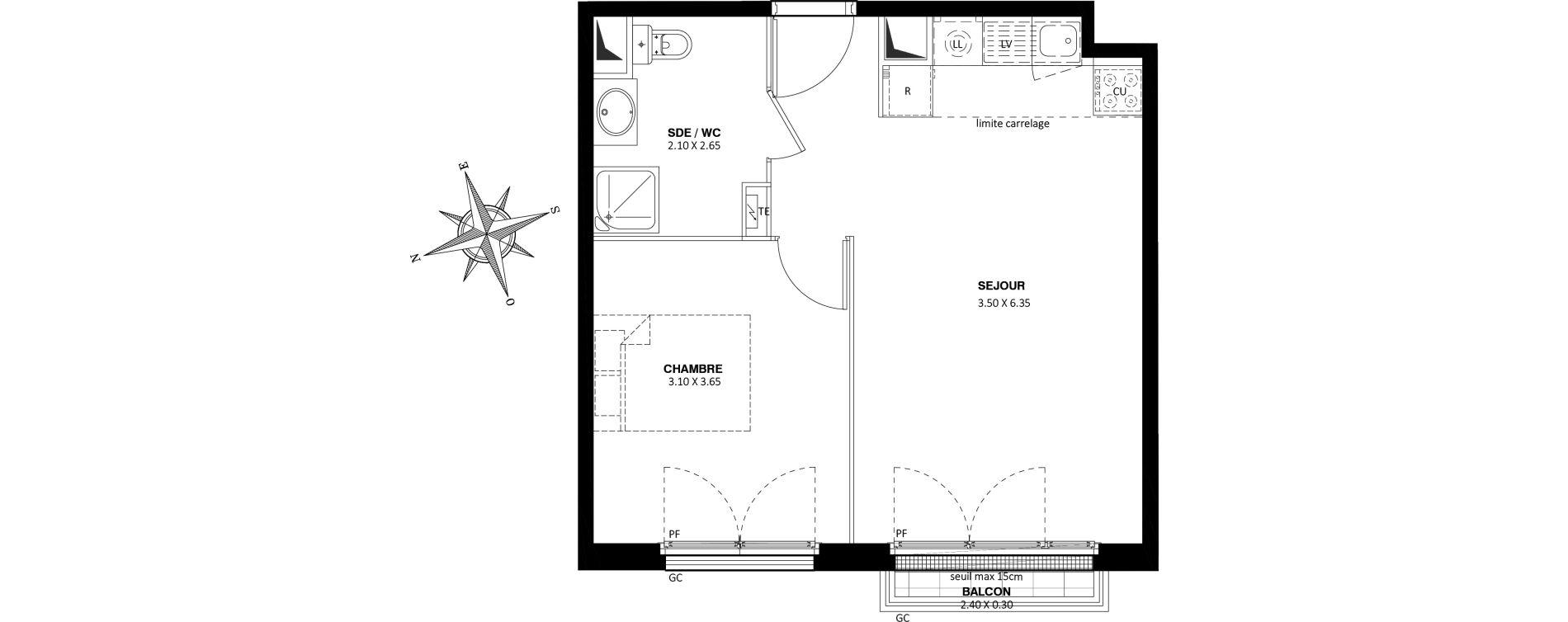 Appartement T2 de 40,55 m2 à Saint-Cyr-L'École Centre