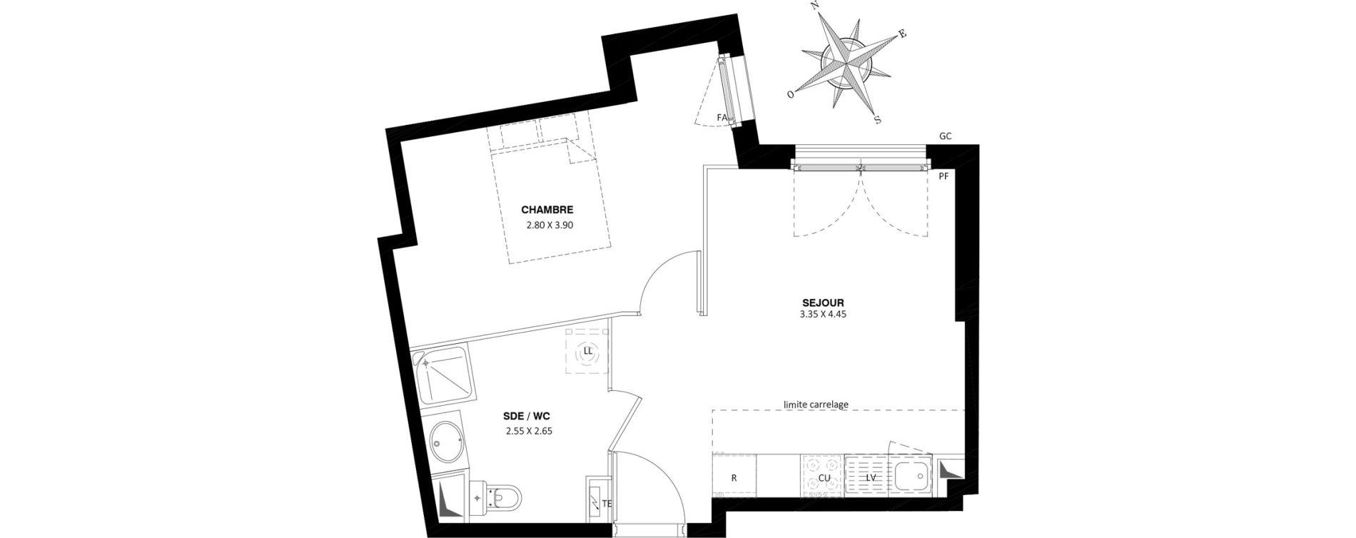 Appartement T2 de 37,90 m2 à Saint-Cyr-L'École Centre