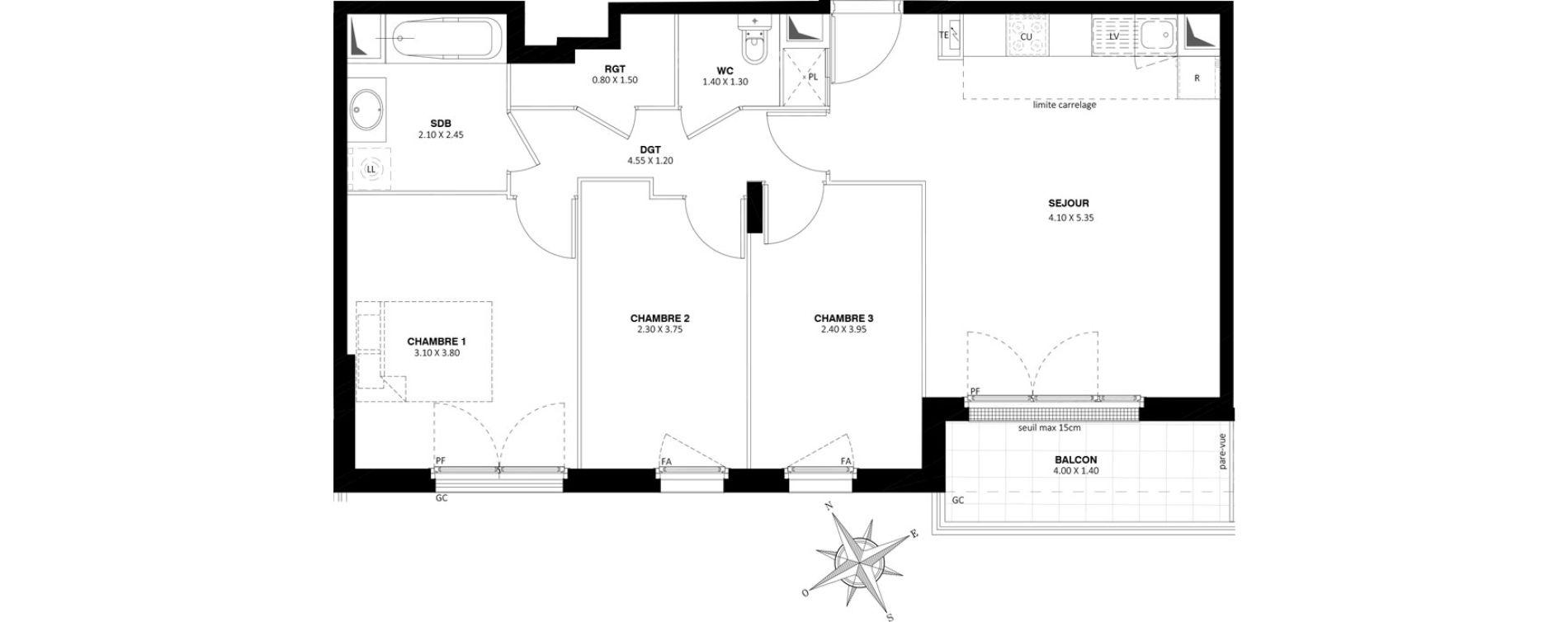 Appartement T4 de 69,90 m2 à Saint-Cyr-L'École Centre