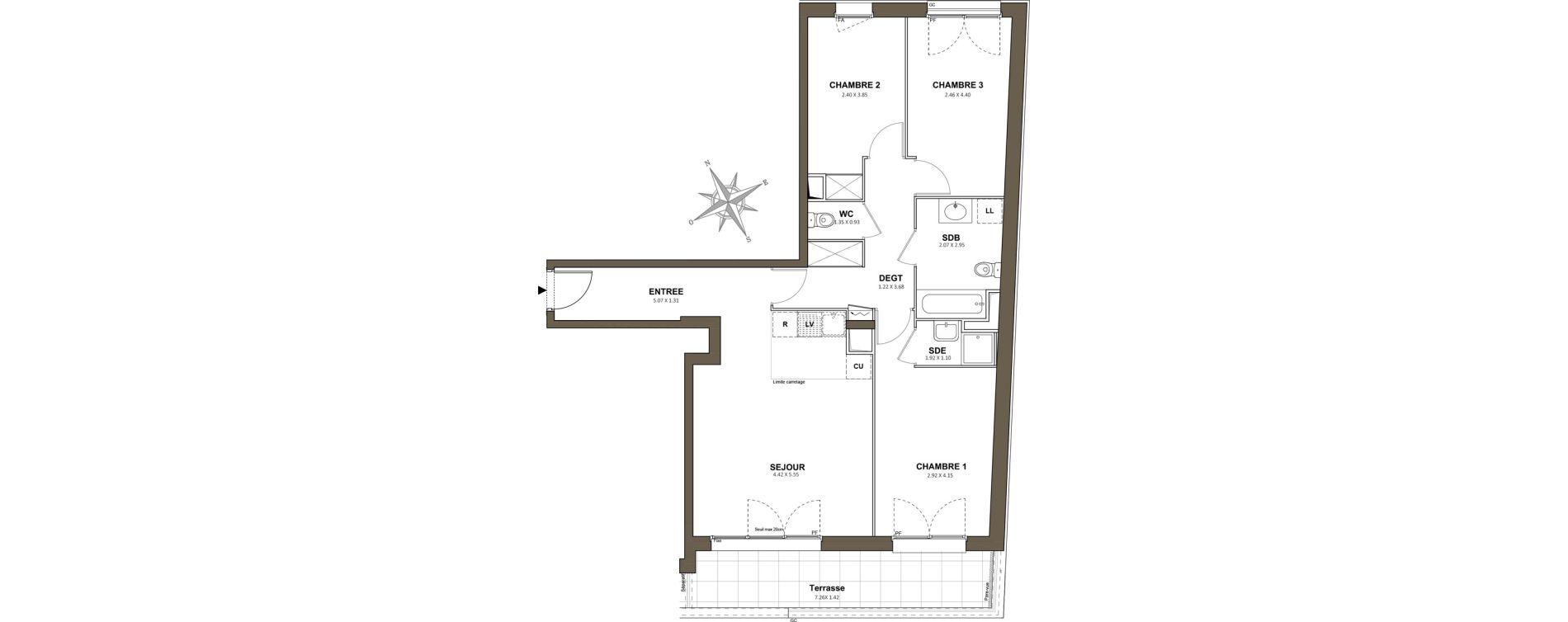 Appartement T4 de 79,65 m2 à Saint-Cyr-L'École Centre