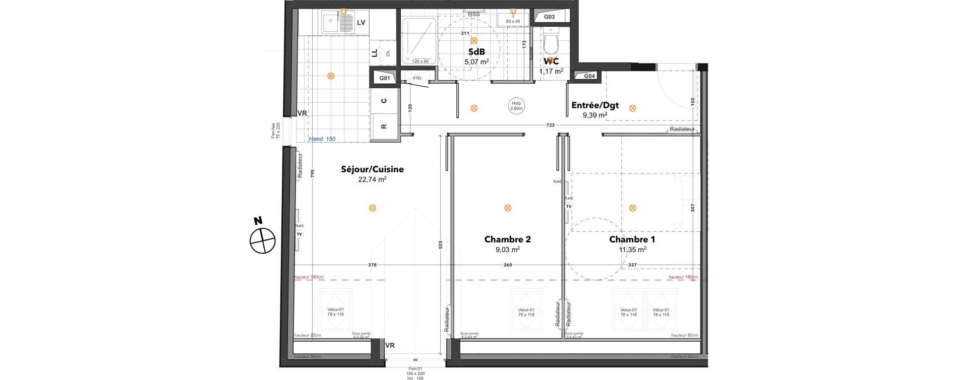 Appartement T3 de 58,75 m2 à Thoiry Centre