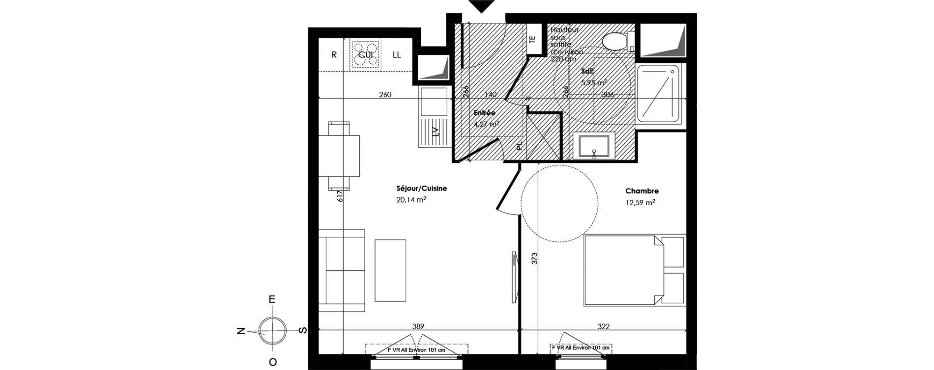 Appartement T2 de 42,95 m2 à Trappes Centre