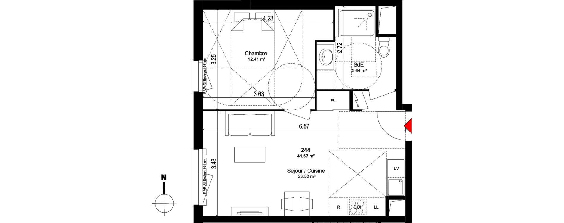 Appartement T2 de 41,52 m2 à Trappes Centre