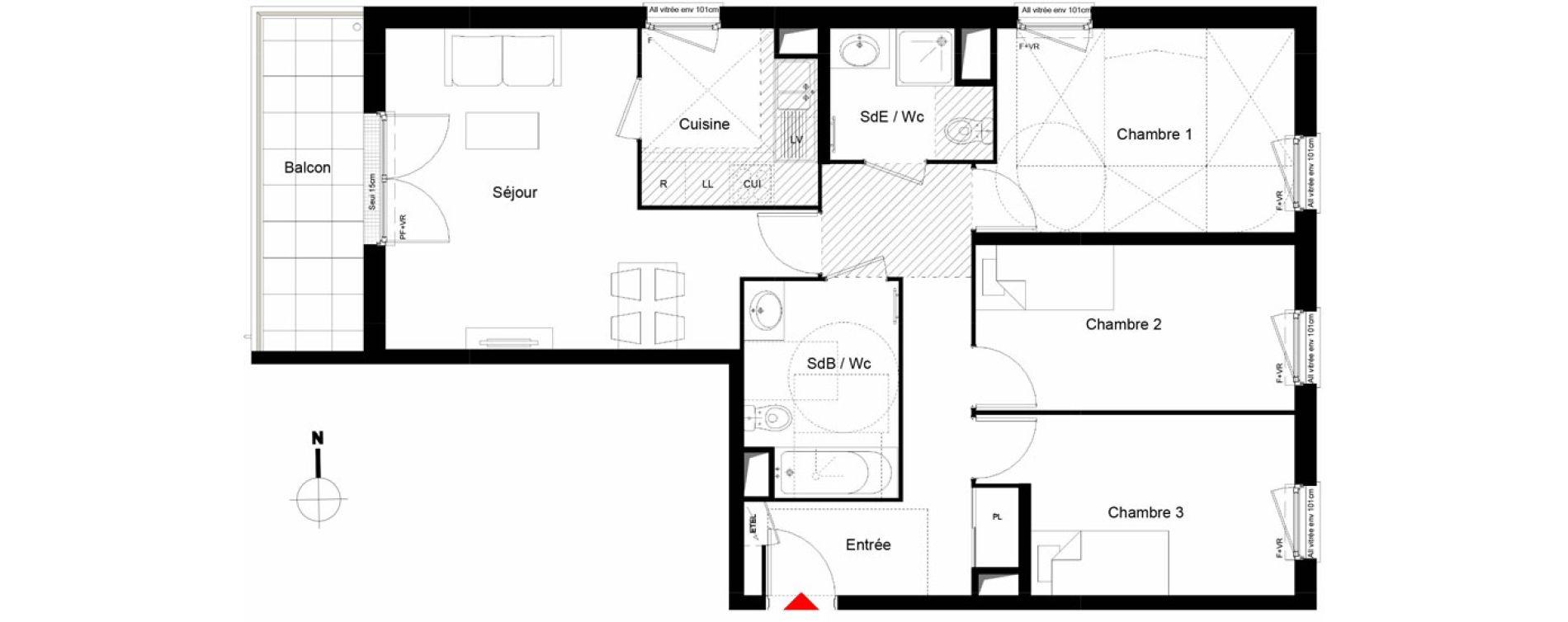 Appartement T4 de 76,78 m2 à Trappes Centre