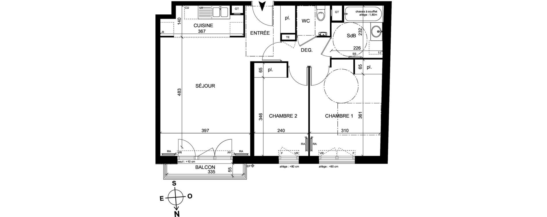 Appartement T3 de 61,80 m2 à Trappes Centre