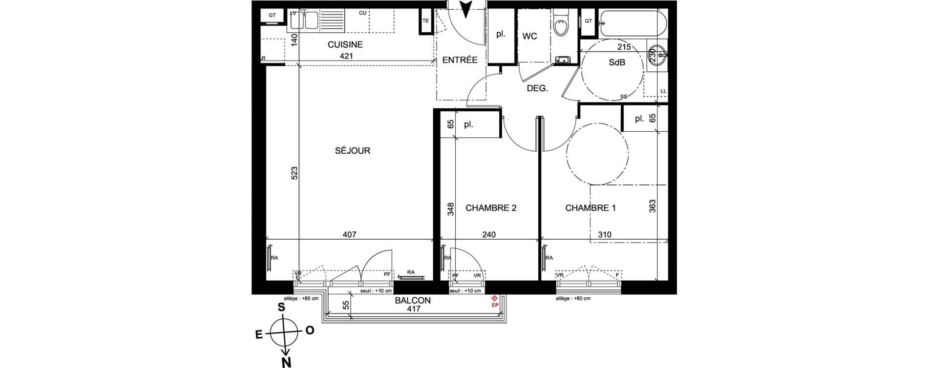 Appartement T3 de 62,60 m2 à Trappes Centre