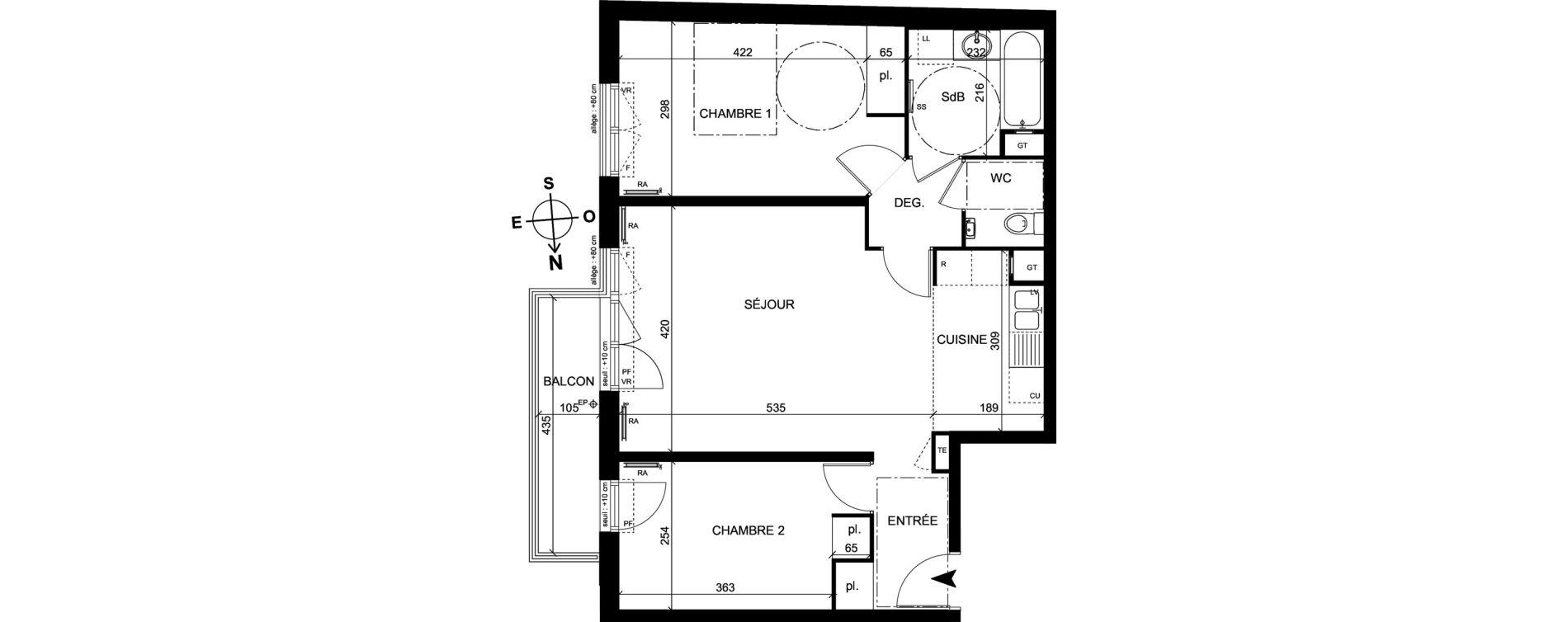 Appartement T3 de 64,20 m2 à Trappes Centre