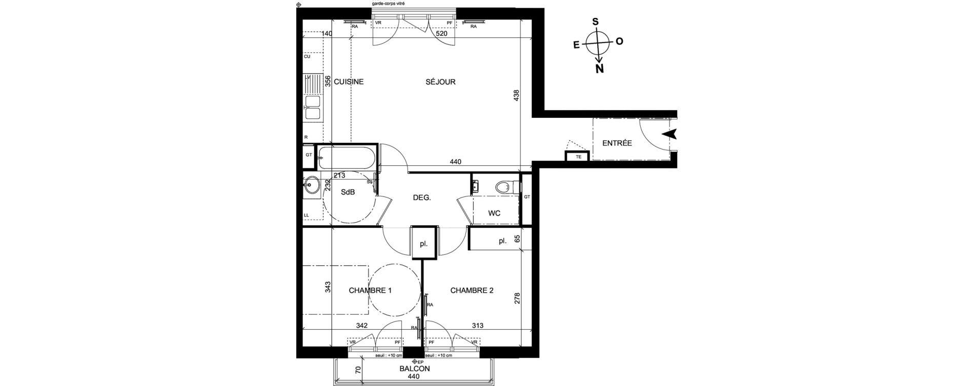 Appartement T3 de 64,90 m2 à Trappes Centre