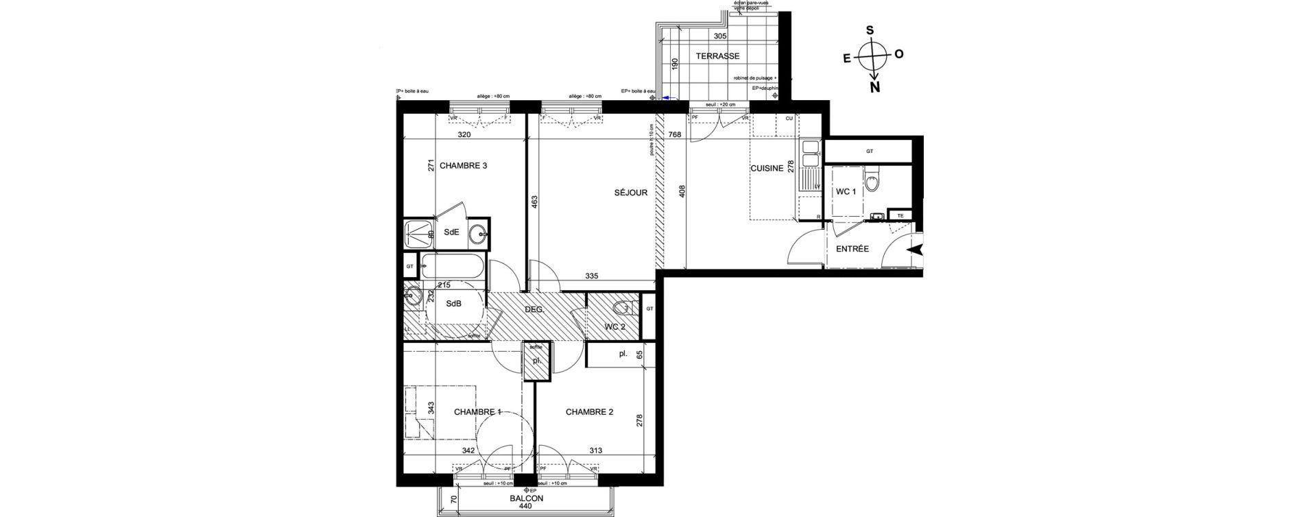 Appartement T4 de 83,40 m2 à Trappes Centre
