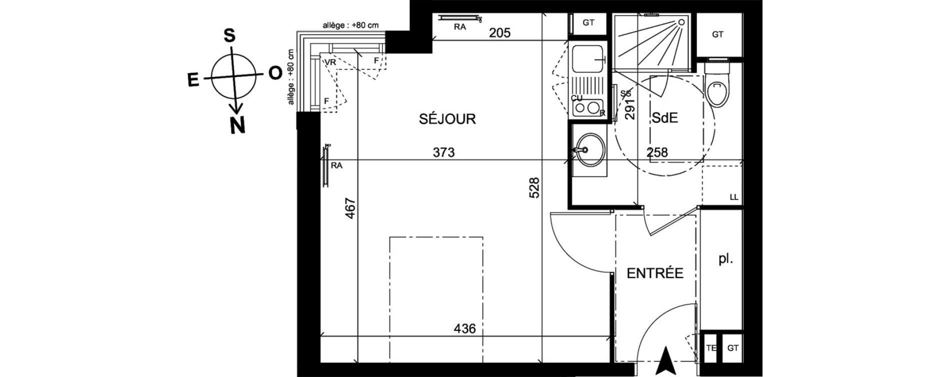 Appartement T1 de 30,90 m2 à Trappes Centre
