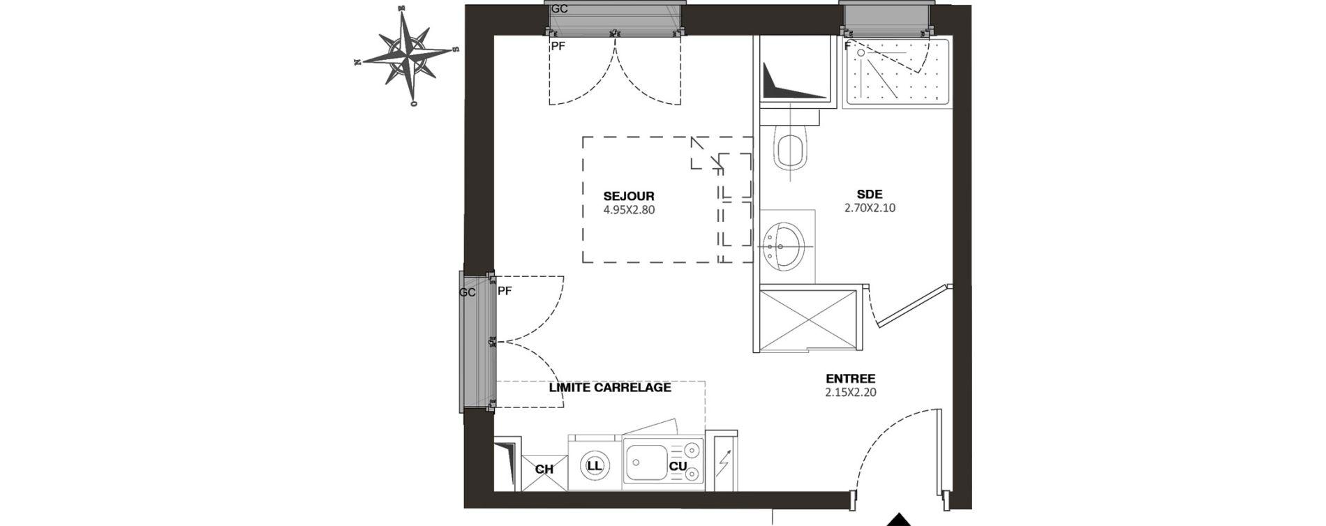 Appartement T1 de 23,50 m2 à Viroflay Rive droite viroflay