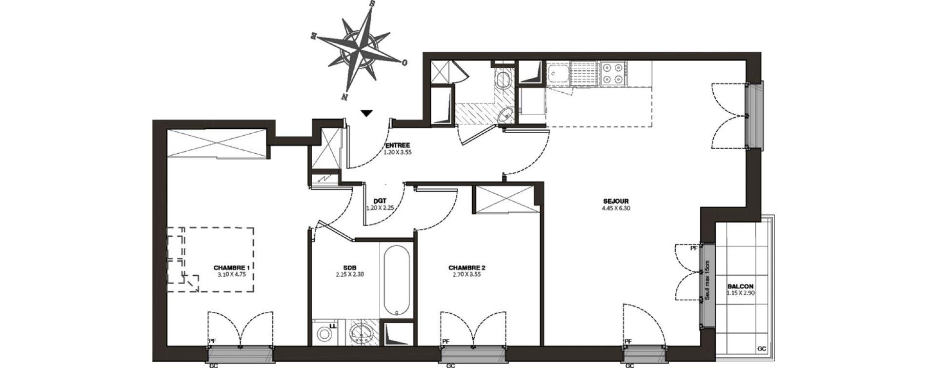 Appartement T3 de 64,55 m2 à Viroflay Rive droite viroflay
