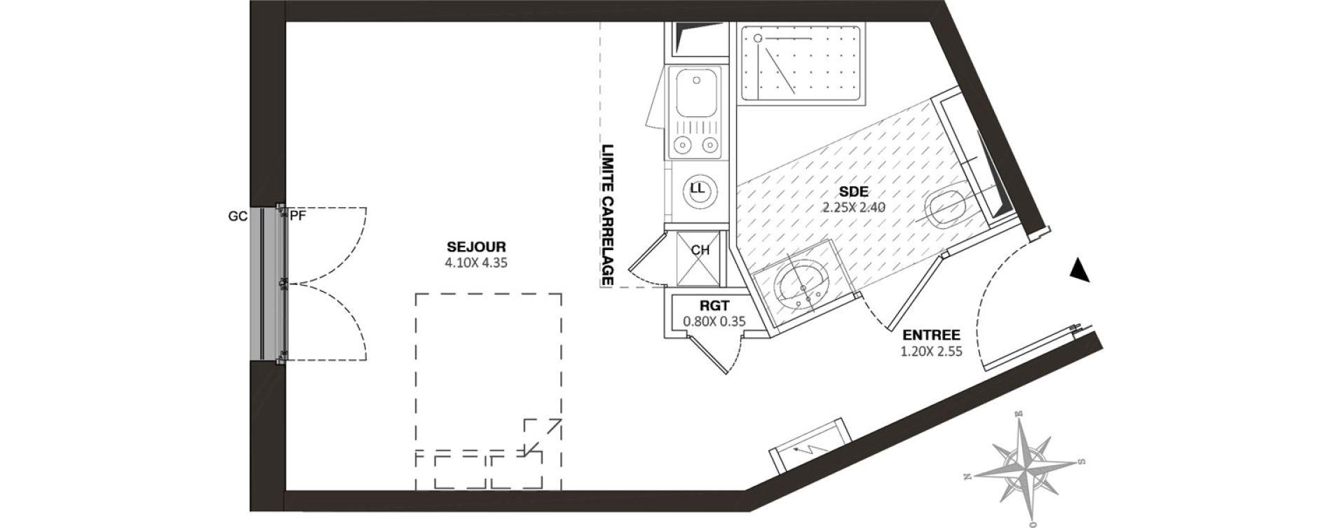 Appartement T1 de 26,80 m2 à Viroflay Rive droite viroflay