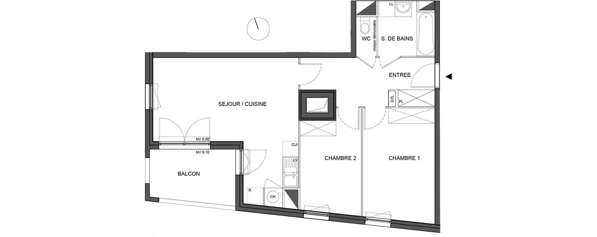 Appartement T3 de 58,80 m2 à Bénouville Centre