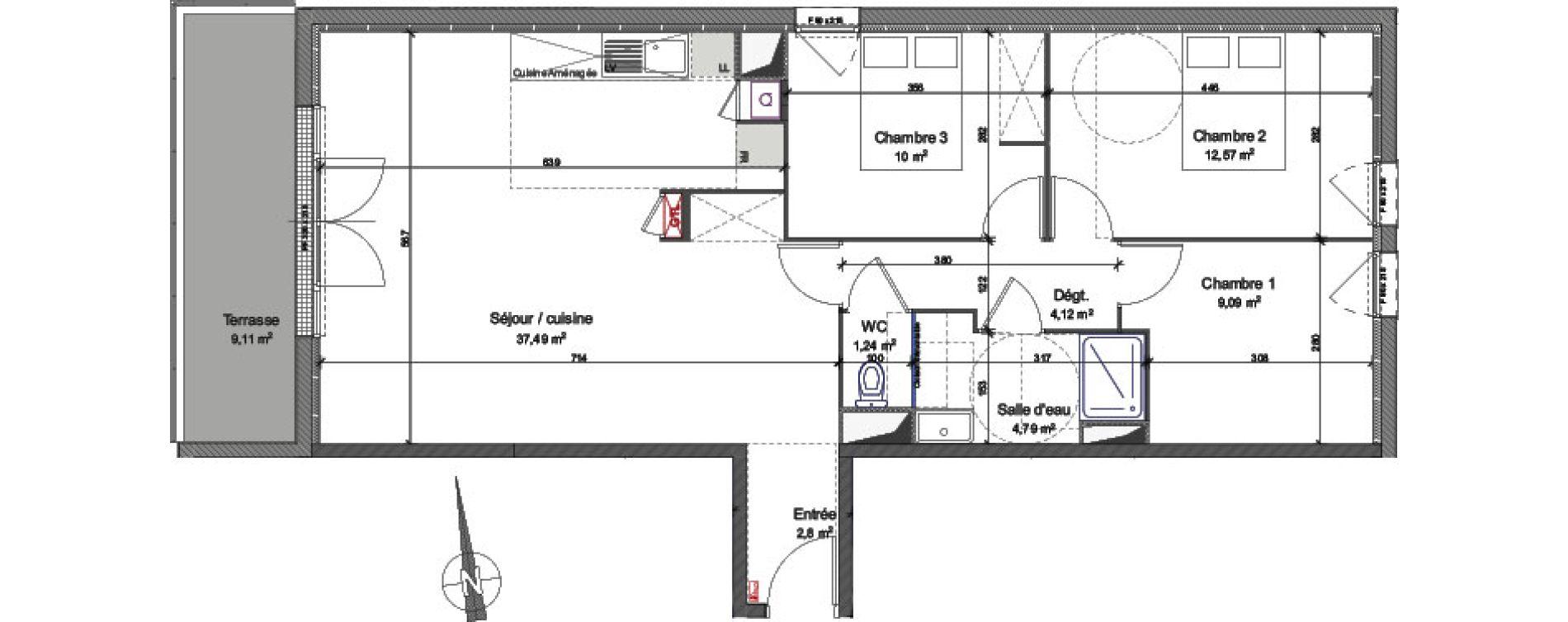 Appartement T4 de 82,10 m2 à Caen La maladrerie