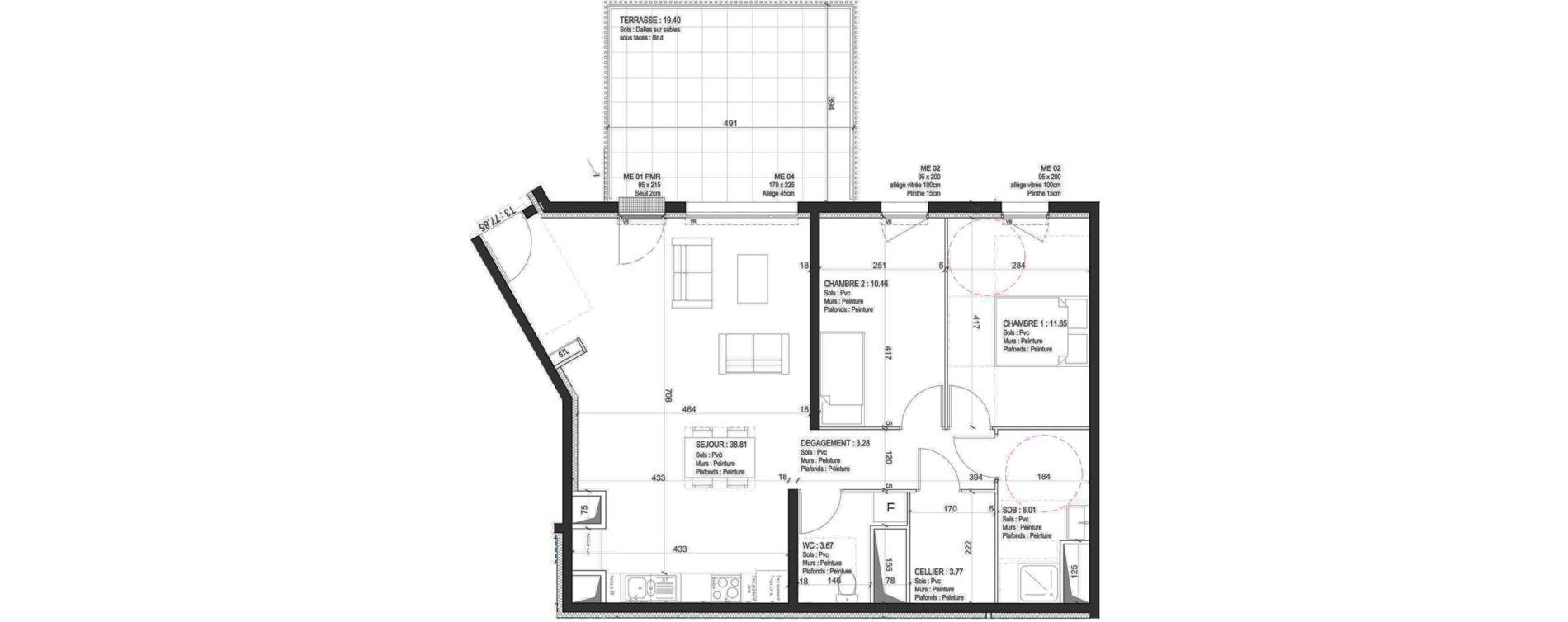 Appartement T3 de 77,85 m2 à Fleury-Sur-Orne Les hauts de l'orne
