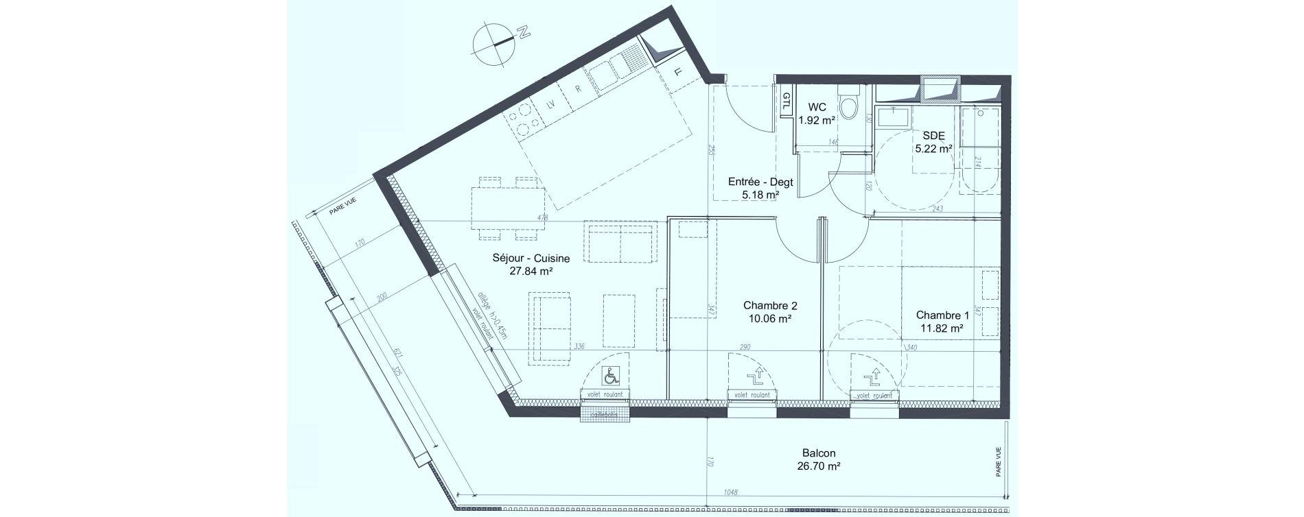 Appartement T3 de 62,33 m2 à Fleury-Sur-Orne Les hauts de l'orne