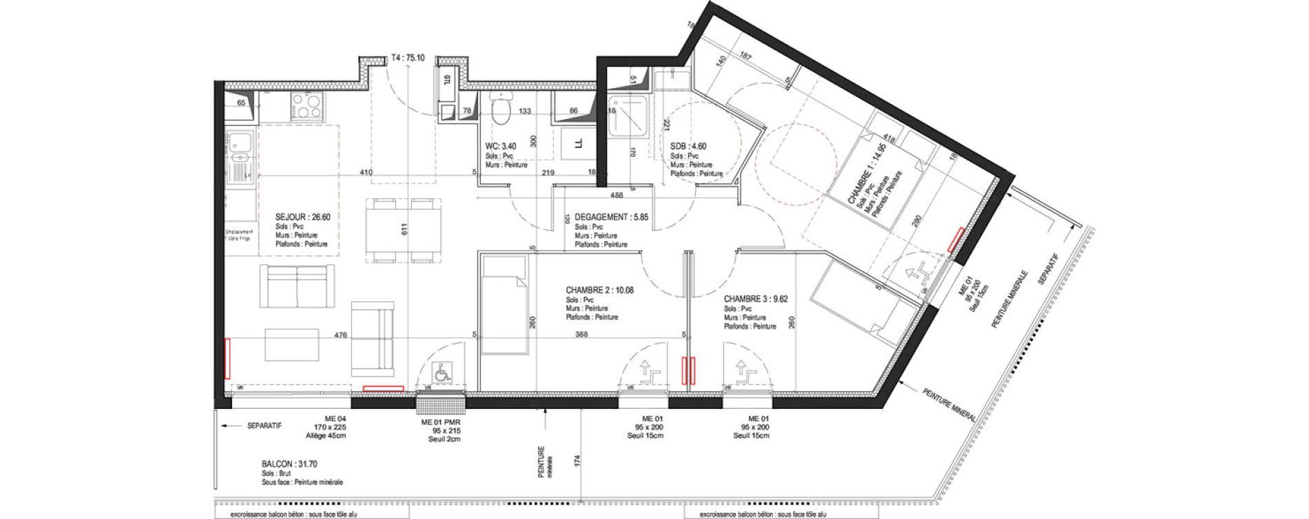 Appartement T4 de 75,10 m2 à Fleury-Sur-Orne Les hauts de l'orne