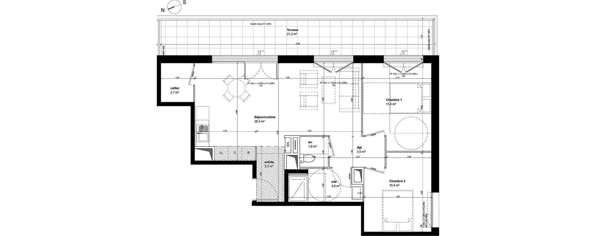 Appartement T3 de 66,30 m2 à Fleury-Sur-Orne Centre