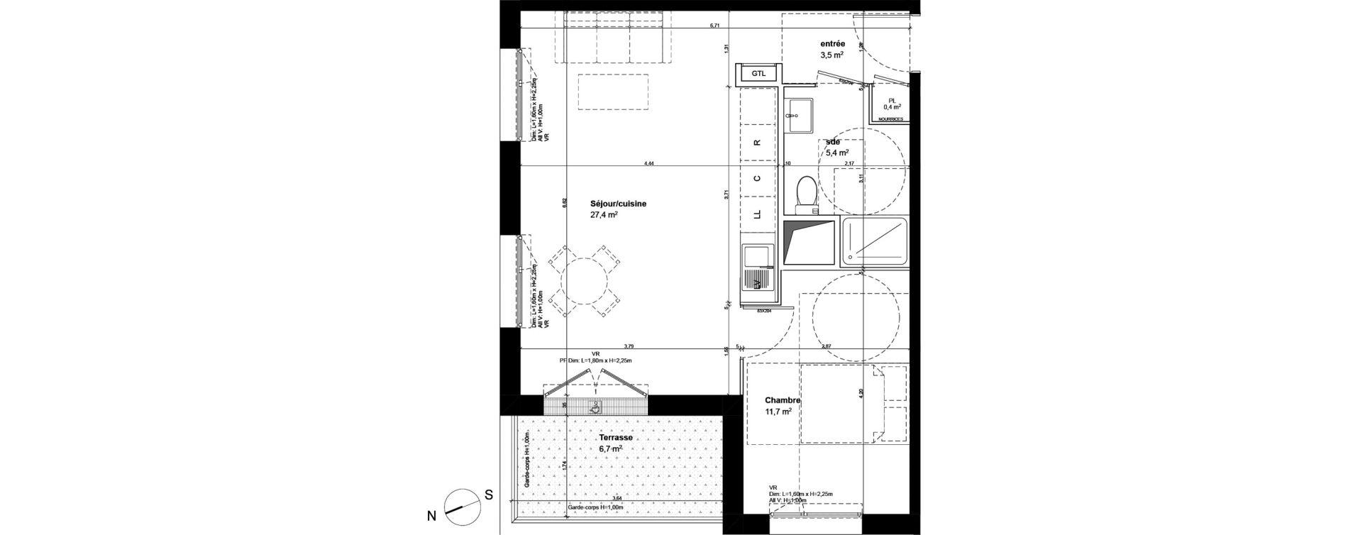 Appartement T2 de 48,40 m2 à Fleury-Sur-Orne Centre