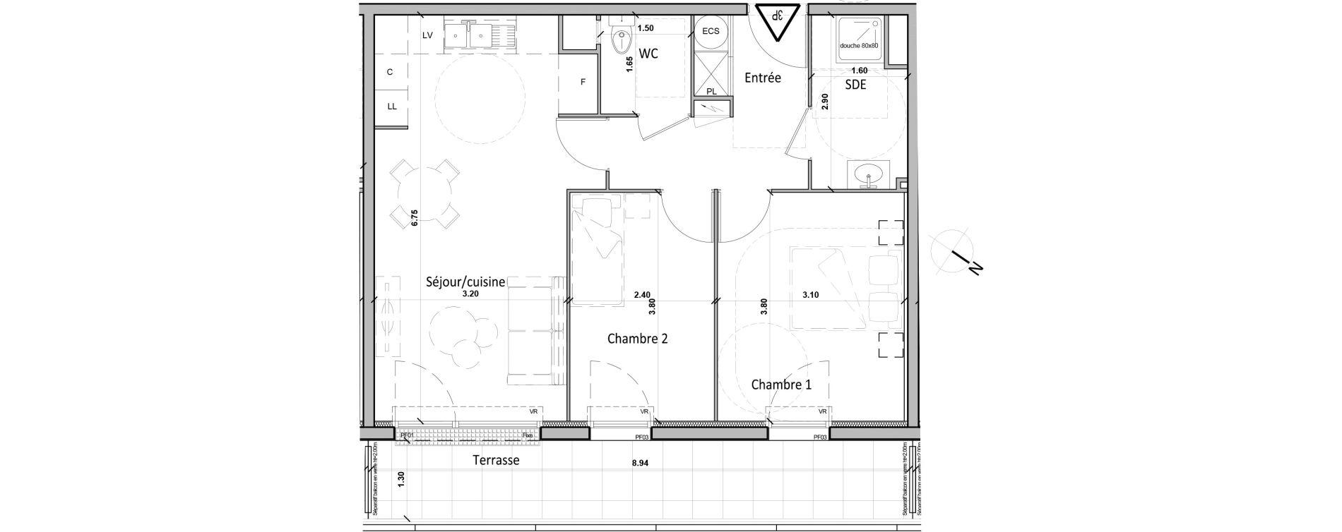 Appartement T3 de 56,40 m2 à Gisors Centre
