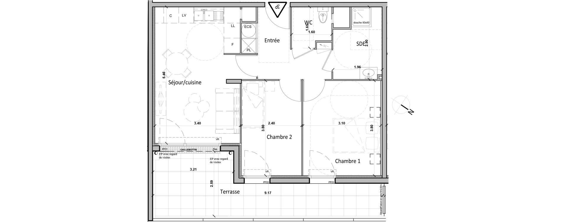 Appartement T3 de 53,10 m2 à Gisors Centre